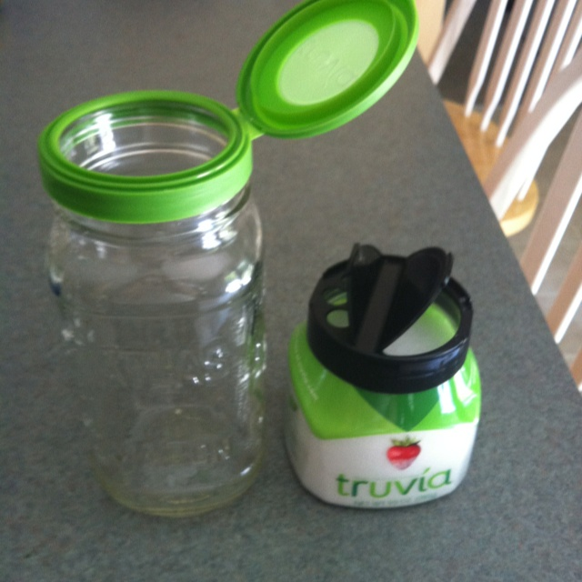 Imagine my surprise! Truvia container flip-top lids fit on small mouth jars, and for ease of sprinkling Truvia, Parmesan cheese lids fit on Truvia containers!