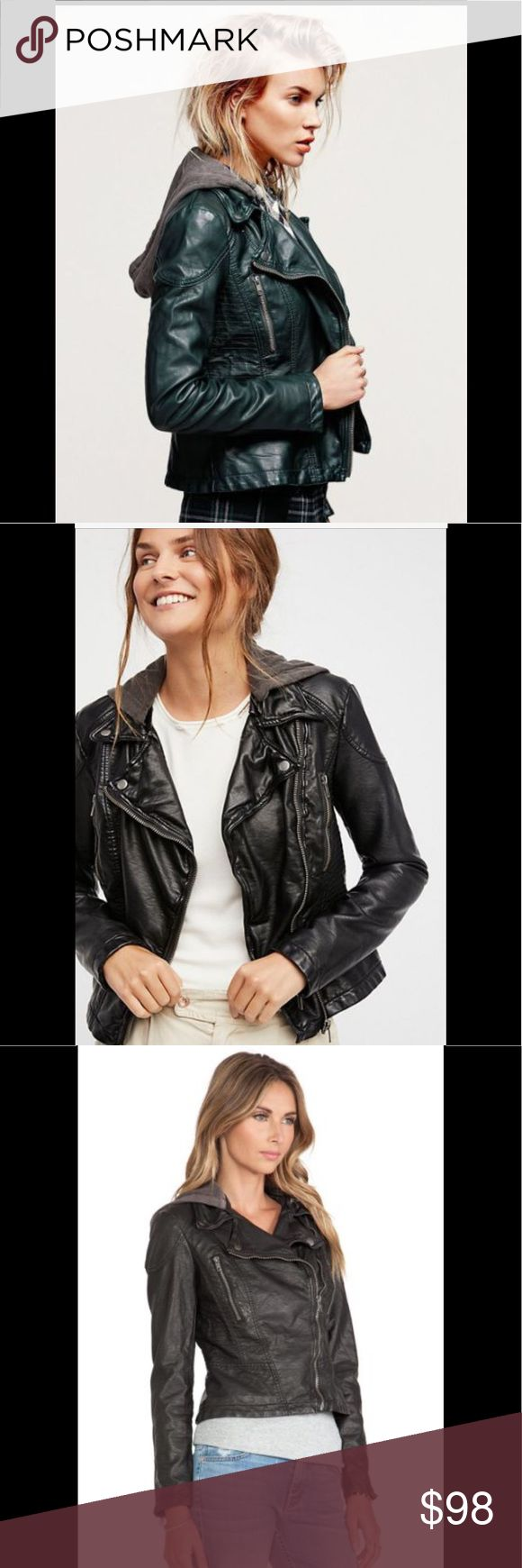 New Free People Vegan Leather Jacket New with tags. Free People vegan leather motorcycle style jacket with removable hood. Women's size 4. Retail $168.00. Free People Jackets & Coats