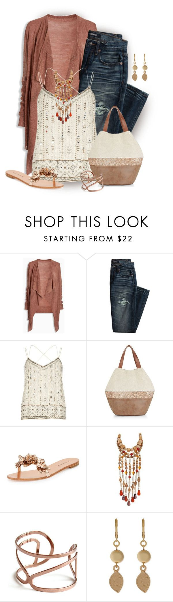 """Boho with Jeans"" by stileclassico ❤ liked on Polyvore featuring Canvas by Lands' End, River Island, New Look, Sophia Webster, Yves Saint Laurent, Sandro, boho and jeans"