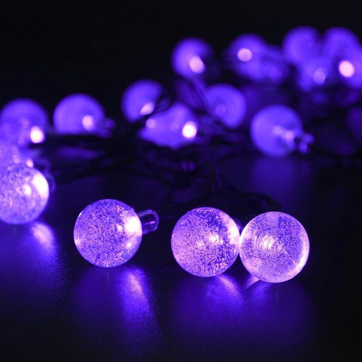 for sale online ledertek solar outdoor string lights 30 led purple crystal ball solar powered globe fairy lights for halloween lights decoration - Solar Halloween Decorations