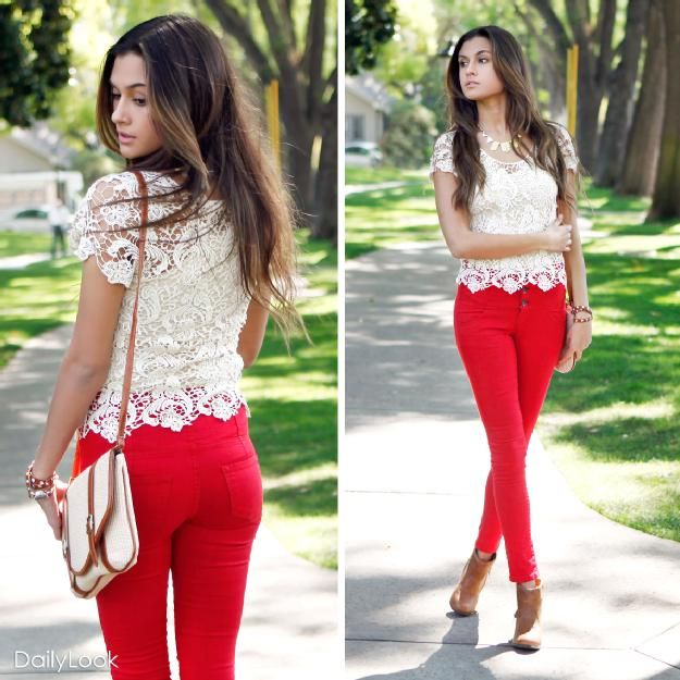 """""""Nude doily lace top with red high waist denim pants. Soft on the top and strong in the bottom."""""""
