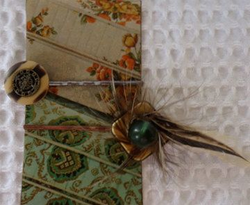 Vintage Recycled Feather Hair Pin Button Jewelry by thineintime, $18.00