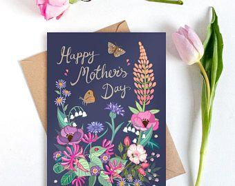 Mothers Day Card - Mothers day - Happy Mothers Day - Card for Mum - Card for Mom - Best Mum Card - Floral Card - Card for a Garden Lover