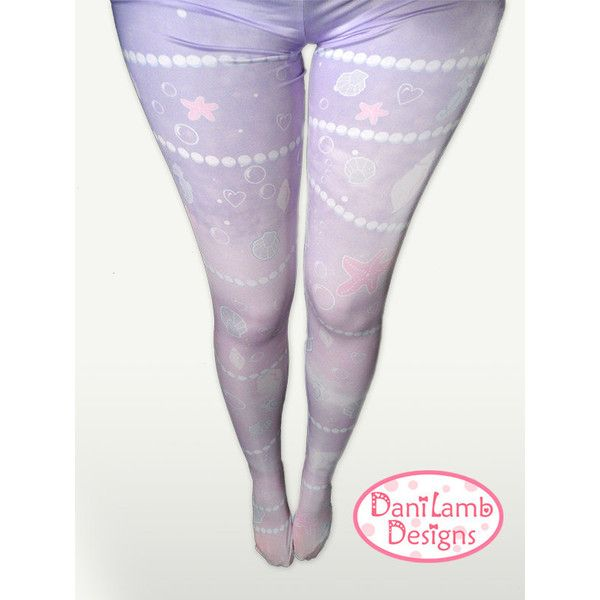 Pastel Mermaid Tights Kawaii Marine Ocean Stockings Lolita Printed... ($27) ❤ liked on Polyvore featuring intimates, hosiery, tights, navy, women's clothing, print tights, pastel tights, navy stockings, patterned stockings and patterned tights