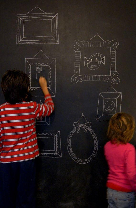 Pared pintura pizarra para habitacion infantil - Pintura de pizarra para pared ...