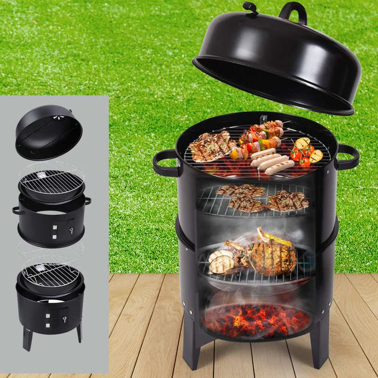 3in1 Portable BBQ Smoker Roaster & Grill Charcoal | Buy Charcoal BBQ