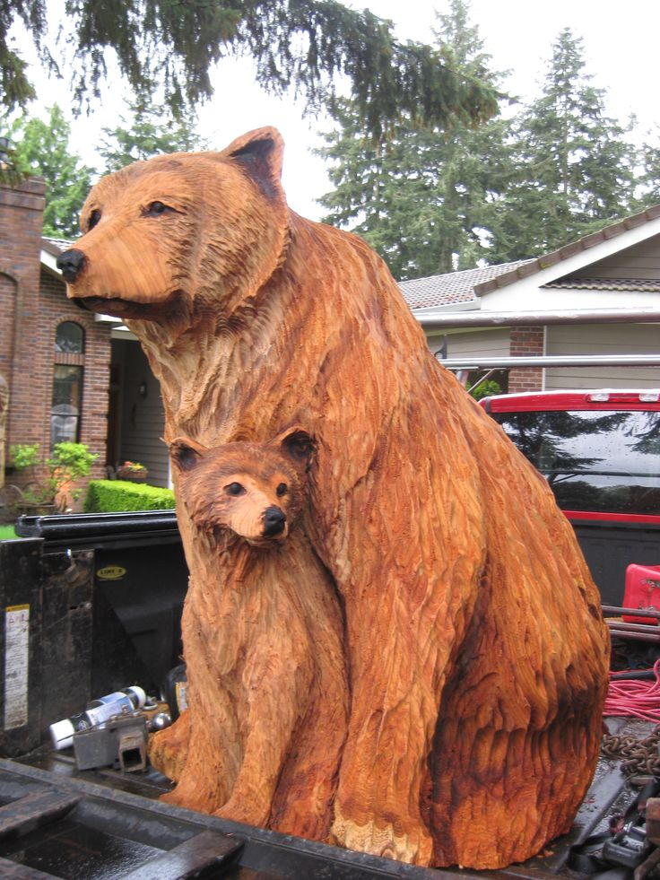 chainsaw carved bear for sale | Momma Bear and her cub commision