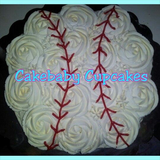 Custom Baseball themed Pull Apart Cupcake Cake in Lemon w/ Cream Cheese Icing for an intimate wedding ceremony! #cakebabycupcakes #cupcakes #custom #Atlanta #Delivery #baseball #wedding #bride #cake