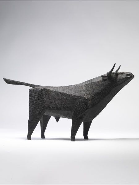 """""""Standing Bull"""" by Terence Coventry. [Image #9 of Week: Sept 23th - 27th] This bronze sculpture is really cool because of the use of shapes to make the figure and the overall simplicity. I also wonder what the bull is looking at..."""