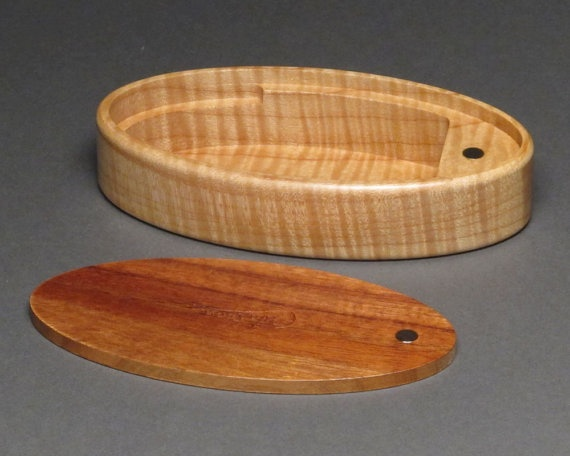 Small Wood Box Curly Koa and Maple Magnetic Latch 'The by watswood, $58.00