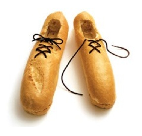 """Funny bread from """"Prêt à Manger"""" The soles may not be red.. But they're delicious ;).."""