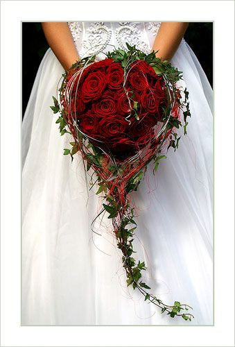 Heart Shaped Red Roses + Green English Ivy Foliage Cascading Wedding Bouquet