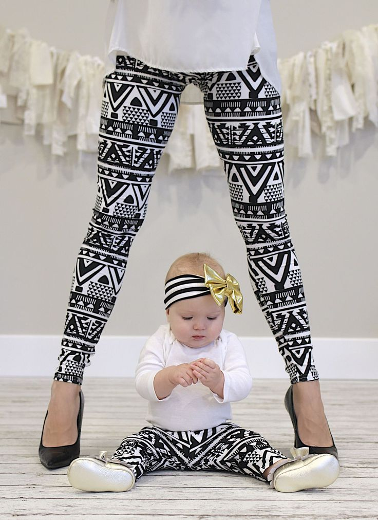Darling baby/toddler and mommy leggings! Get matching pairs for mommy and me leggings! :)  Every child would LOVE to match their mommy! Now you can even match your baby! These darling leggings are 100% polyester and super soft and stretchy which allows them to fit so long. They are made full length unlike our grow with me leggings.