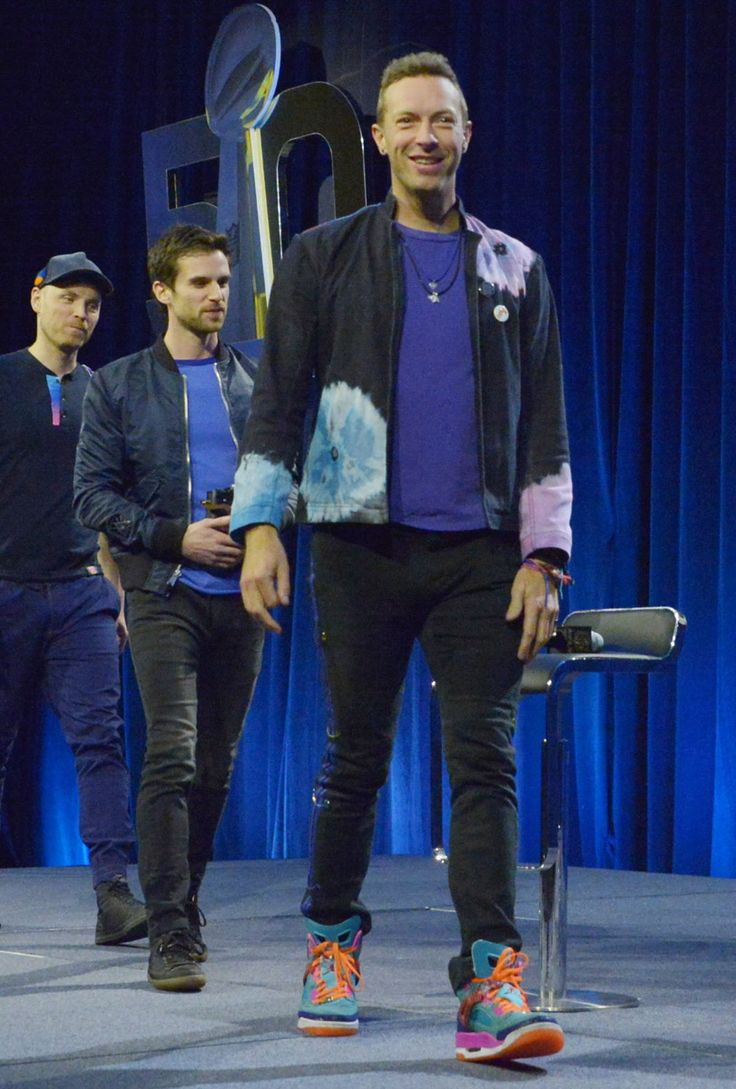 Coldplay's Chris Martin Gets Ready for His Super Bowl Performance in Colorful Jordans