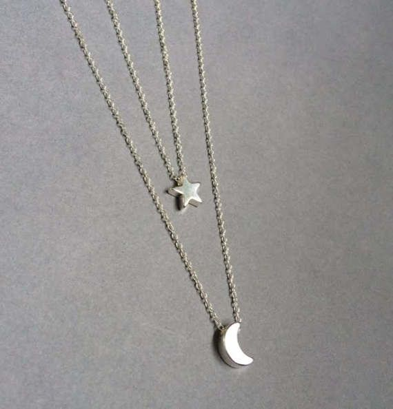 Moon and Star Necklace, Moon Star Necklace, Layered Necklace, Crescent and Star Necklace, Star Necklace, Moon Necklace,Mother's Day Gift