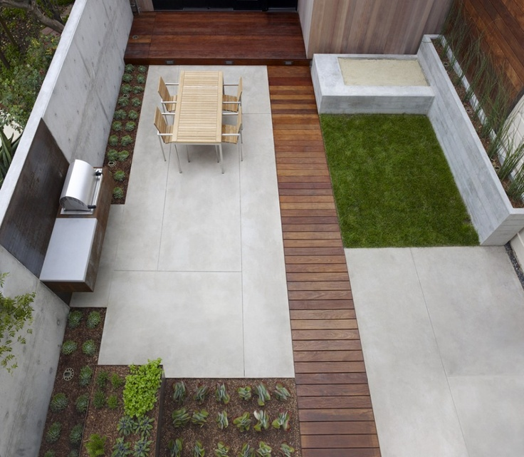 I like the blend of concrete with decking with grassy areas and the balance that gives the whole yard San Francisco Dining Terrace modern patio san