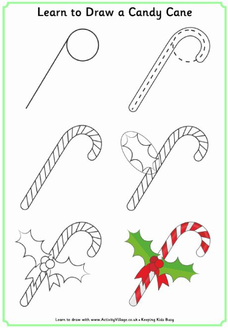 Learn to draw a candy cane