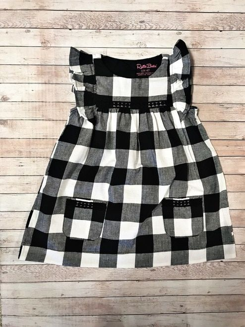 246054a836b1 RuffleButts Black   White Plaid Jumper Dress