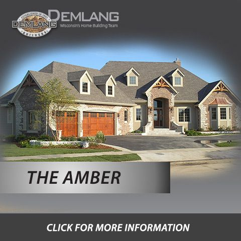 The Amber with its French Country flair boasts of details.  An impressive exterior brick/stone combination, striking gabled entry with an oversized arched transom window, a captivating bay window complete with a copper roof, red cedar gable accents and red cedar garage doors. This 2,696 square foot open concept split bedroom design includes intriguing high ceiling effects, arches, pillars, wrought iron staircase and expansive windows.