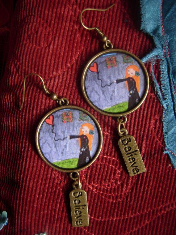 There is Always Hope handmade art illustrated earrings by eltsamp, $28.00