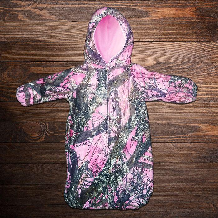 Pink Camo Fleece Baby Bunting