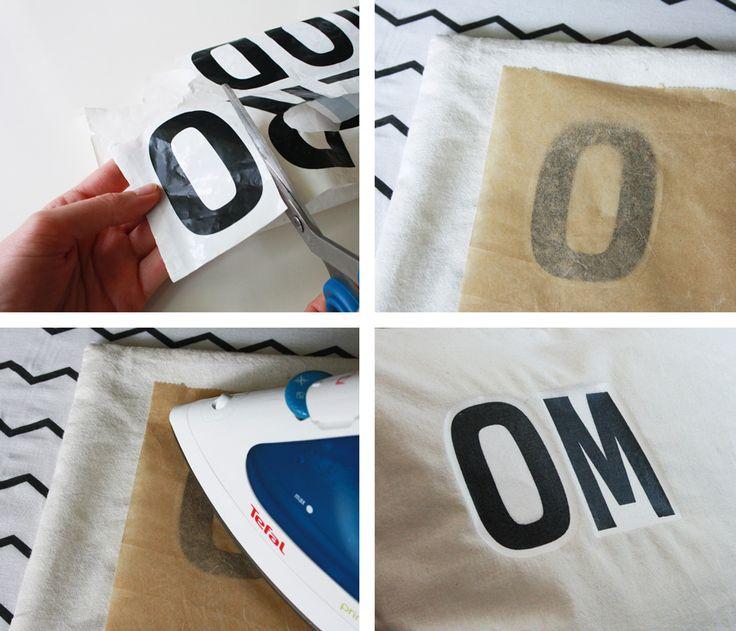 Kissen bedrucken – Bügelbild Schrift aus Plastiktüte
