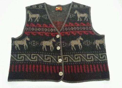 Alps Fine Women's Apparel Southwestern Wool Blanket Style multi color Vest USA