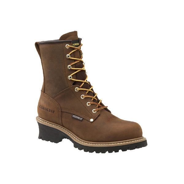 """Men's Carolina 8"""" Waterproof Logger Boot ($135) ❤ liked on Polyvore featuring men's fashion, men's shoes, men's boots, men's work boots, brown, casual, steel toe shoes, mens steel toe work boots, mens work boots and mens waterproof boots"""