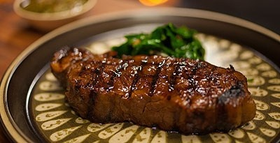 Dragons Breath Grilled Beef with Blanchan Spinach