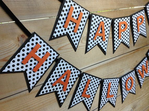 Halloween Banner Happy Halloween Banner Black by BunnyKissDesigns