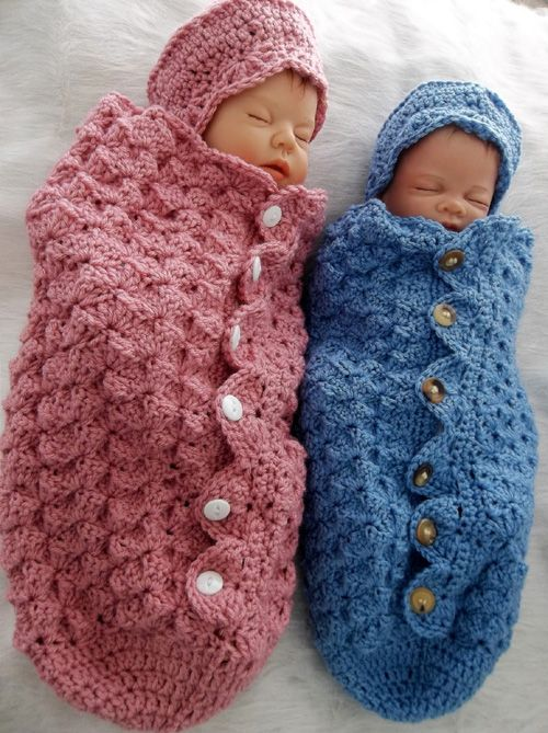 Button Up Baby crochet Cocoon & Hat