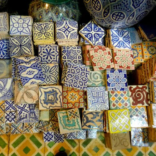 Tiles in the spice souq, Marrakesh, Morocco. These could be crochet squares.............
