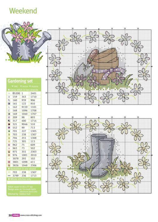 0 point de croix  jardin, bottes en caoutchouc - cross stitch garden, rubber boots
