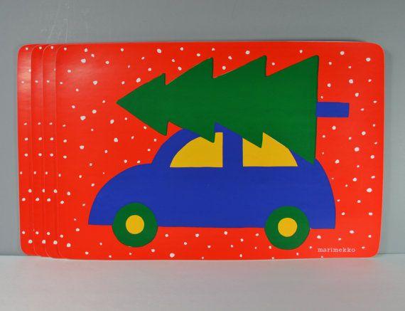 4 C Marimekko Car W Christmas Tree On Top Vinyl Placemats Blue Car Green Tree Red Background White Snowflakes Xmas Table Decor Finland Xmas Table Decorations Red Background Marimekko