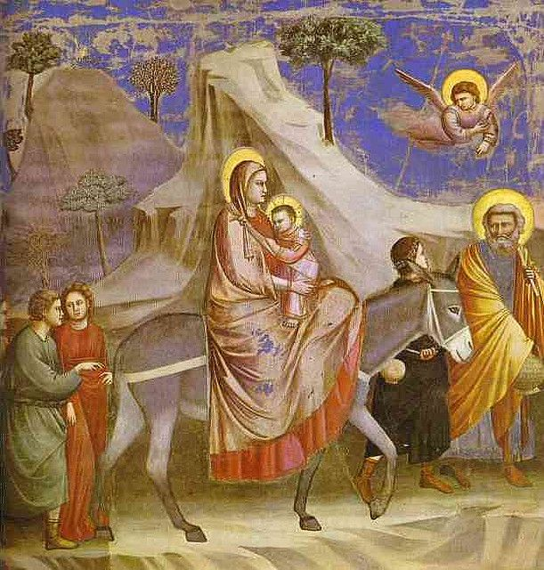 Giotto. Flight into Egypt. 1304-1306. Fresco. Capella degli Scrovegni, Padua, Ital