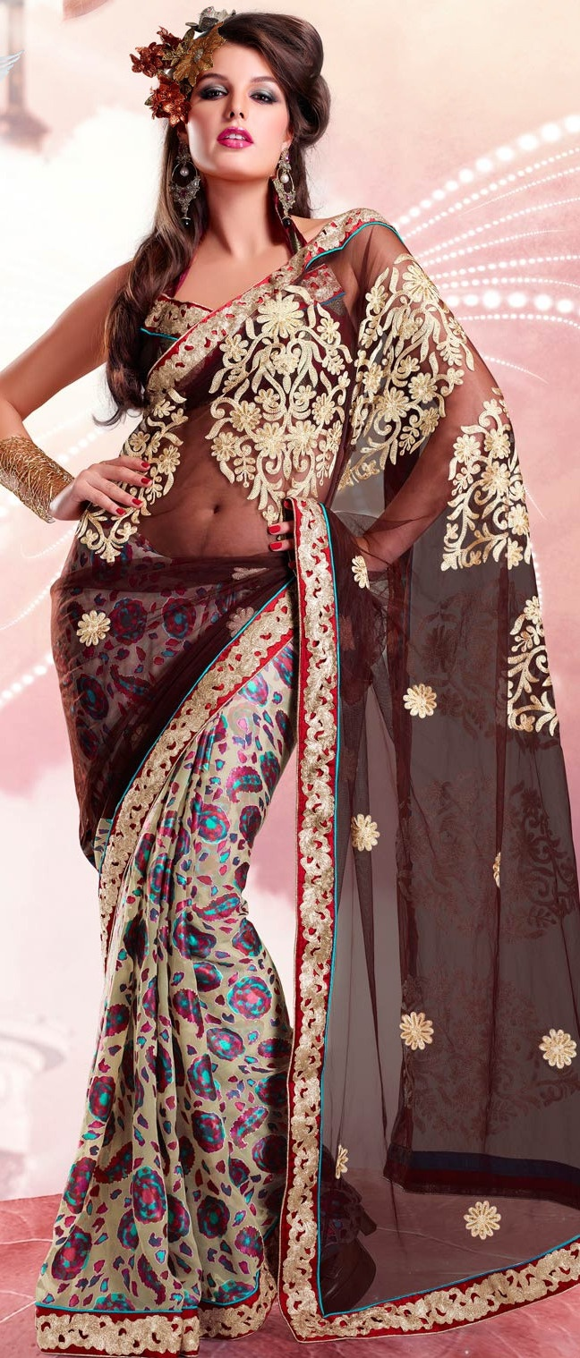 #Brown and Off #White Net and Brasso #Saree with Blouse @ $75.00 | Shop @ http://www.utsavfashion.com/store/sarees-large.aspx?icode=sga2115