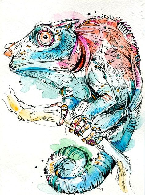 Chameleon. India ink, watercolor, and Tombow markers.