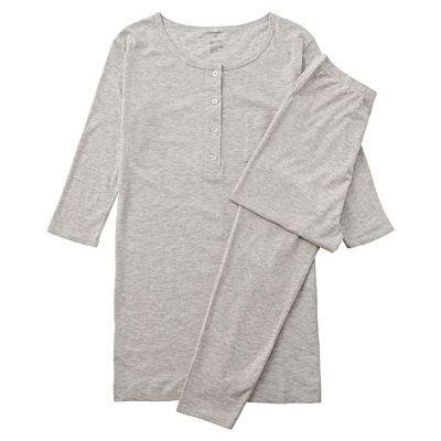 Cotton blend jersey three-quarter sleeve women's pajamas · L · beige