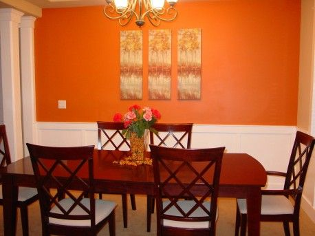 Warm Orange Dining Room Paint Ideas | Bright Orange Color Dining Room Great Ideas