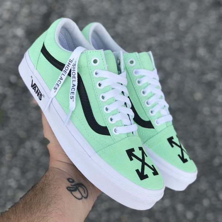 "Off White Old Skool The Off White Old Skools ""Mint"" Shoe key custom features:…"