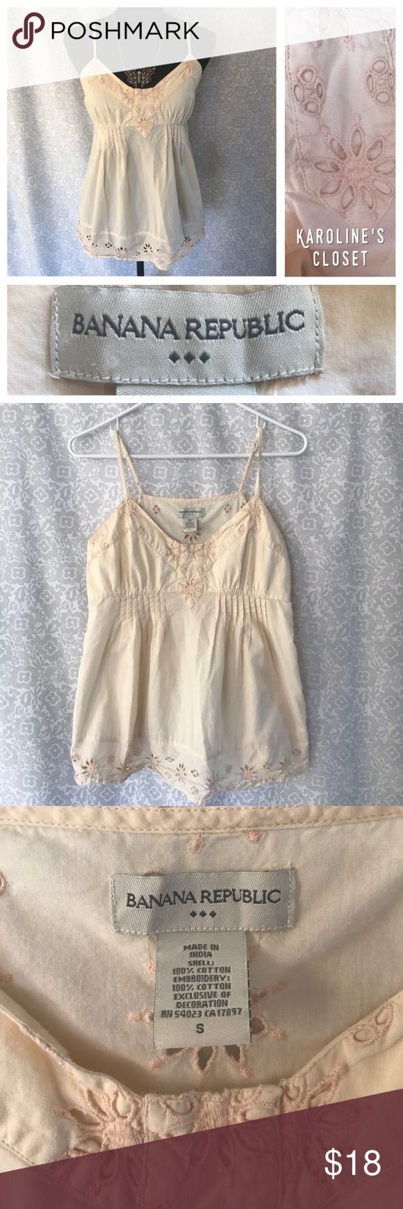 15% OFF BUNDLES! Banana Republic, Size small, light peach colored tank with adjustable straps, side zipper, and very pretty Floral embroidery!! Banana Republic Tops Tank Tops