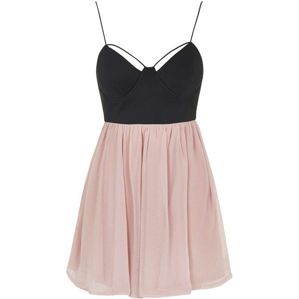 **Strappy Bustier Contrast Mini Dress by Rare found on Polyvore featuring dresses, black, black bustier, strap dress, black bustier dress, black flared skirt and skater skirt