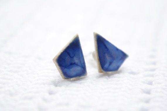 Geometric cutting navy blue ceramic porcelain stud by SillyRice, £10.00