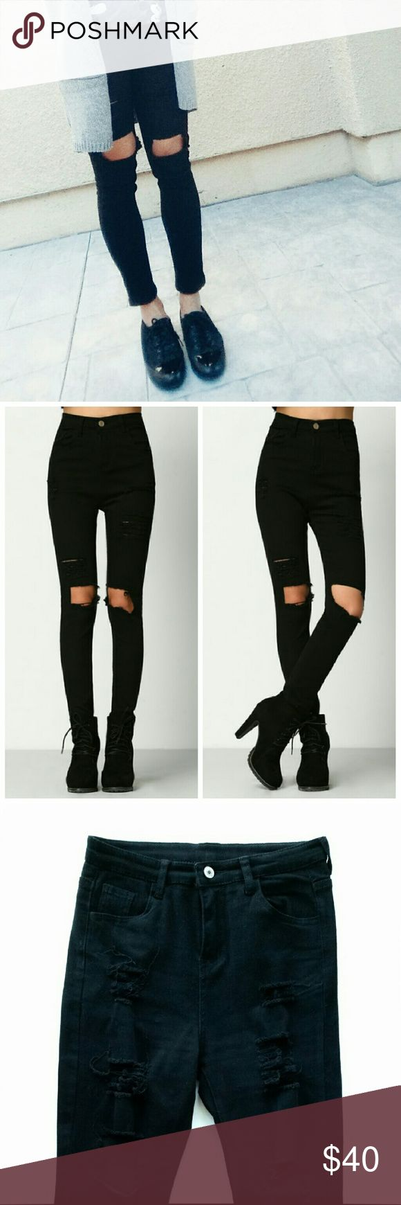 """High Waisted Distressed/Ripped Skinny Black Jeans High Waisted Distressed / Ripped Skinny Black Jeans  *High waisted  (comes up right about or above belly button) *Ripped right above your knees. Don't have to worry about holes getting bigger because of your knee movements rips them further.  *Fabric has some stretch  *Size Small - fits US 0-2 / Waist : 12"""" flat / Inseam : 25.5""""  *Size Medium - fits US 4-6 / Waist : 14"""" flat / Inseam : 26"""" *I'm normally size 26-27 in jeans and modeling medium…"""