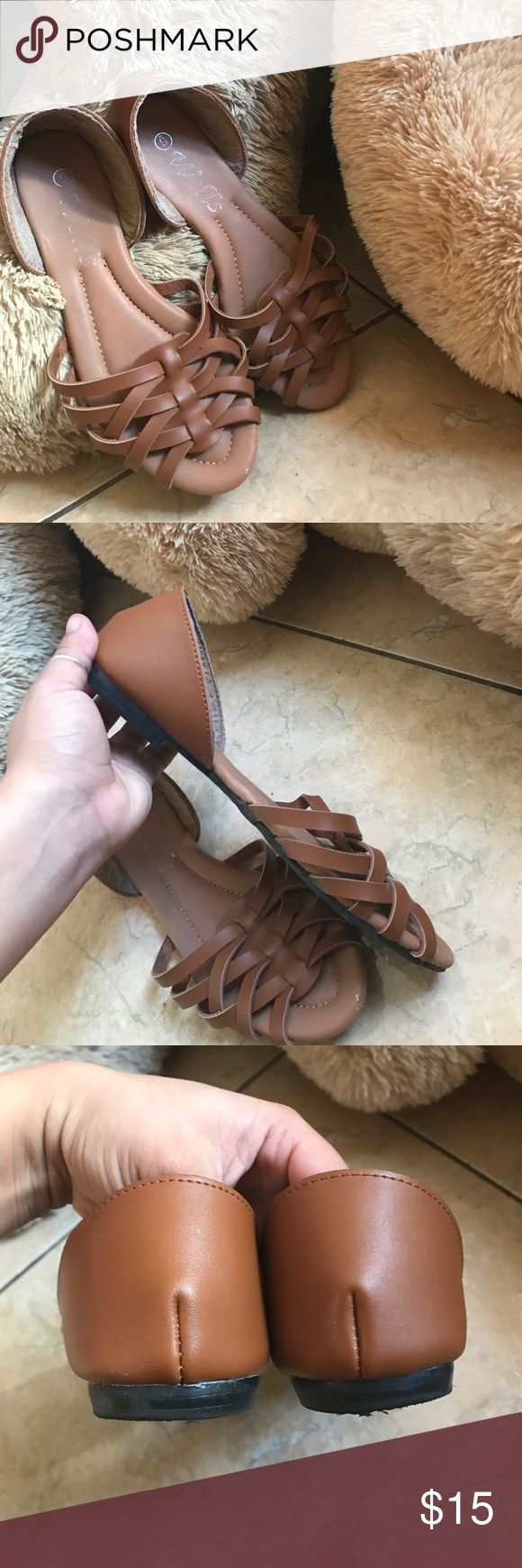 Brown Flats Used once still in good condition Put under American Eagle for popularity ✨ American Eagle Outfitters Shoes Flats & Loafers