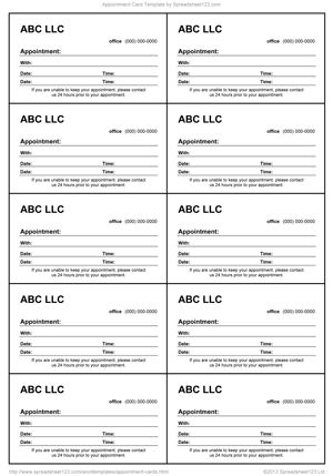 Best Appointment Cards Images On Pinterest Appointments - Excel business card template
