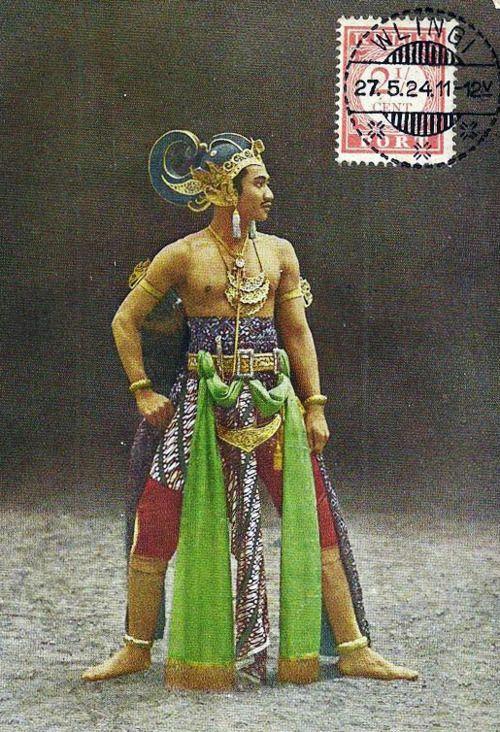 1924 Indonésia Wayang Wong Dancer