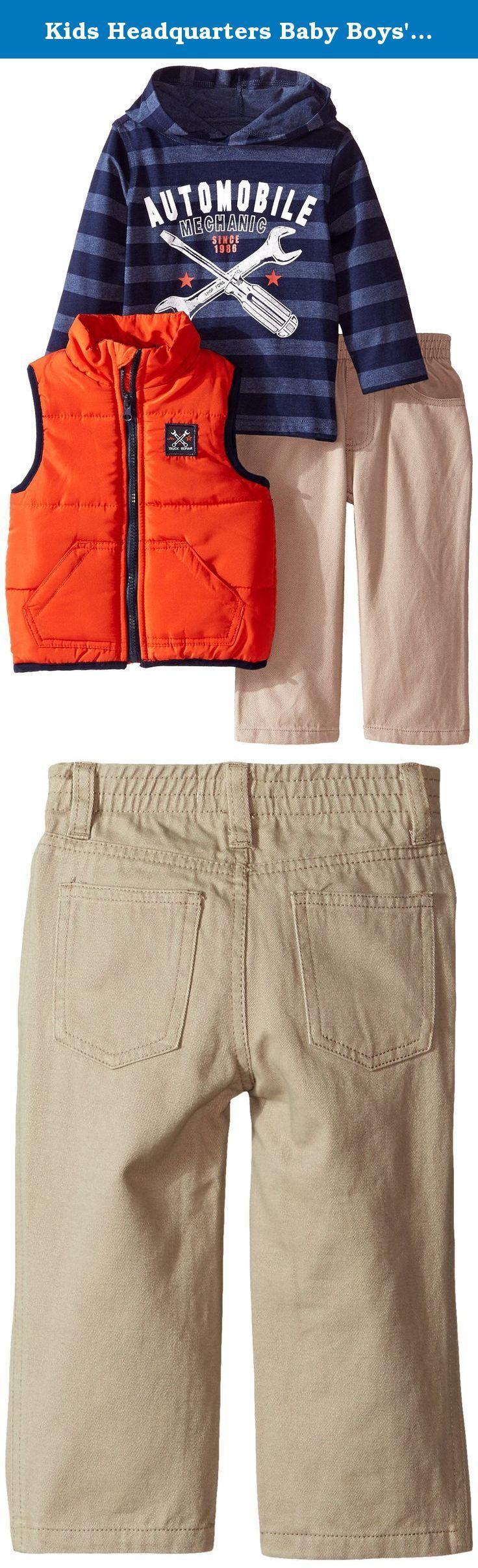 Kids Headquarters Baby Boys' Vest with Stripes Tee and Pants, Orange, 12 Months. Vest pant set.