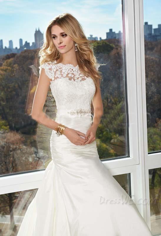 Elegant A-Line Jewel Appliques Brush Train Wedding Dress 10906286 - Wedding Dresses 2014 - Dresswe.Com