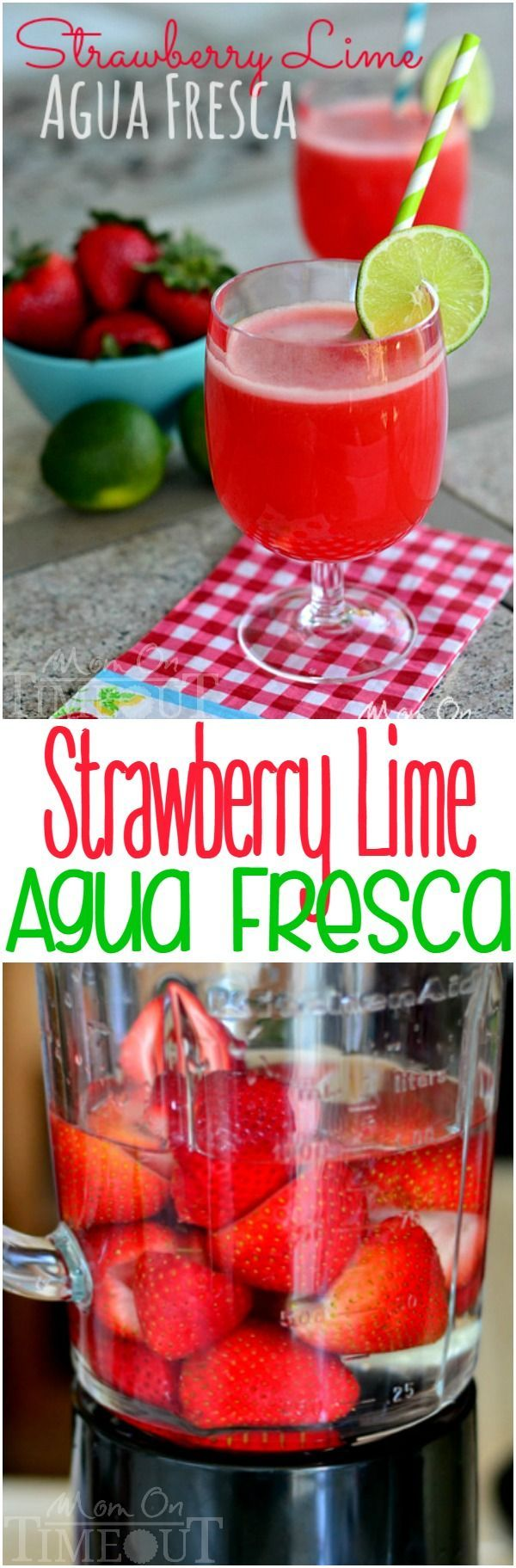 Strawberry Lime Agua Fresca is the perfect refreshing drink for a hot summer day! | MomOnTimeout.com
